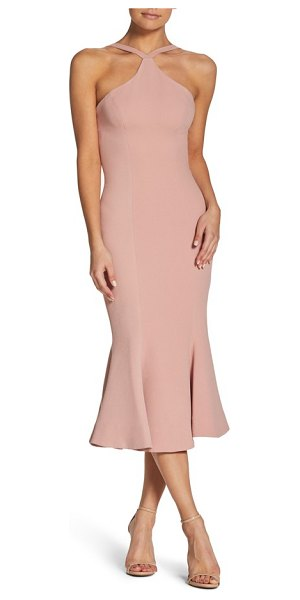 Dress the Population tessa crepe mermaid dress in blush - A contemporary halter neck with cutaway shoulders...