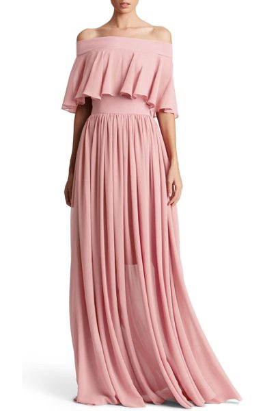 DRESS THE POPULATION violet off the shoulder chiffon gown in blush - A fluttery overlay creates graceful movement on a...