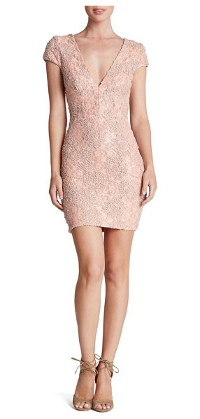 Dress the Population zoe embellished mesh body-con dress in rose petal - Designed to hug and highlight curves, this flirty...