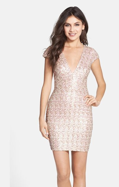 Dress the Population zoe sequin v-neck body-con dress in opalescent - Eye-catching sequins illuminate the curve-flaunting...
