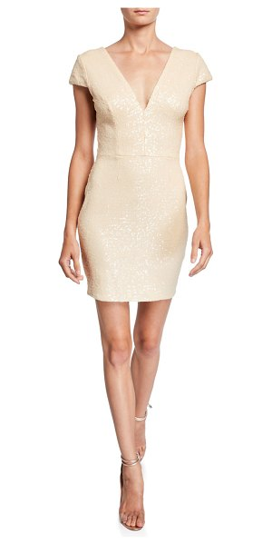 Dress the Population Zoe Sequin V-Neck Cap-Sleeve Sheath Dress in cream