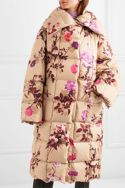 Dries Van Noten recabis oversized floral-print quilted shell down coat in beige