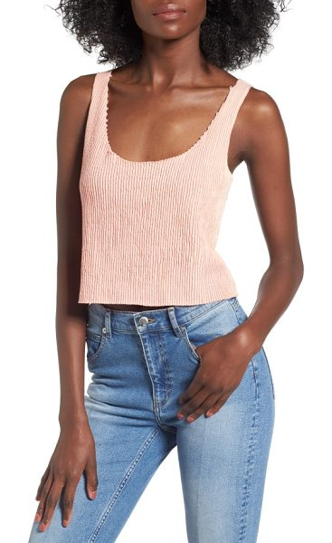 DRIFTER clementine ribbed crop tank in coral almond - Chunky ribbing that goes out of bounds at the edges...
