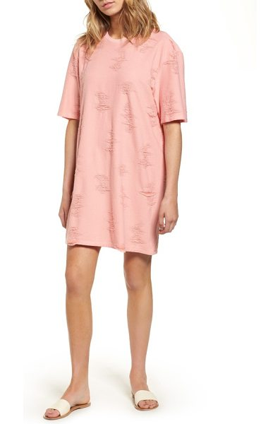 DRIFTER gebella dress in coral almond - Shredded texture subtly captures the ravaged, distressed...