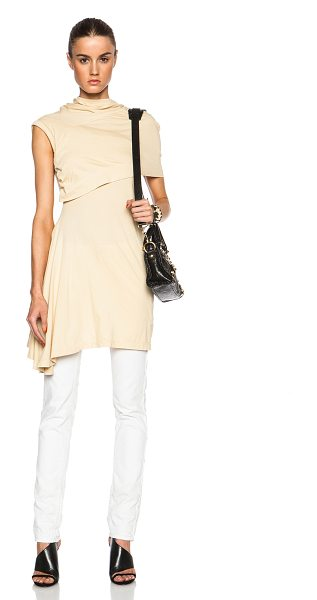 DRKSHDW by Rick Owens Bound tunic in neutrals - 100% cotton.  Made in Italy.  Fabric overlay detail on...