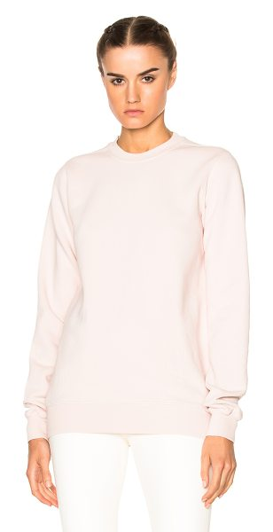 DRKSHDW by Rick Owens Crewneck Sweater in rose - 100% cotton. Made in Italy. Hand wash. Rib knit trim....
