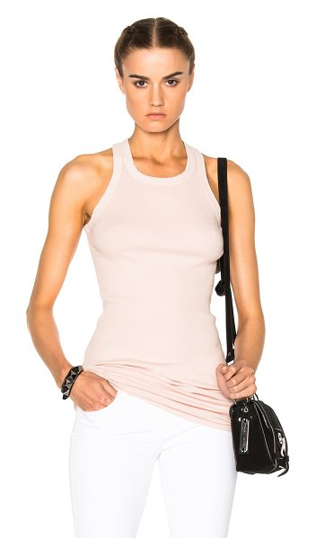 DRKSHDW by Rick Owens Rib Tank Top in rose - 100% cotton.  Made in Italy.  Hand wash.  Rib knit fabric.