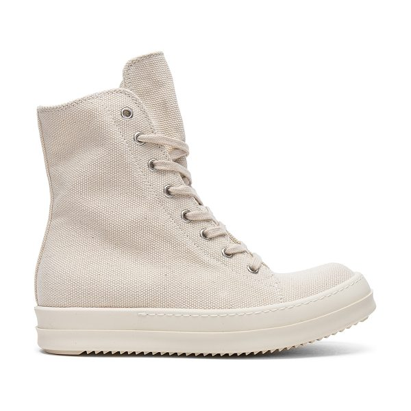 "DRKSHDW by Rick Owens Vegan Sneakers in cream - ""Canvas upper with rubber sole. Side zip closure...."