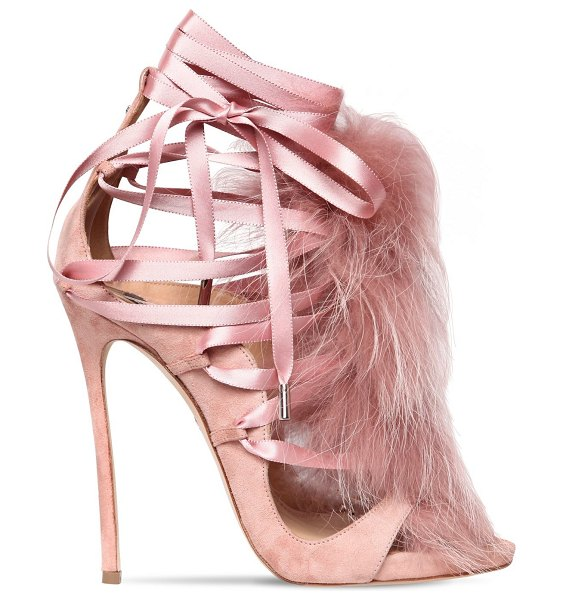 Dsquared2 120mm riri suede lace-up sandals w/ fur in pink