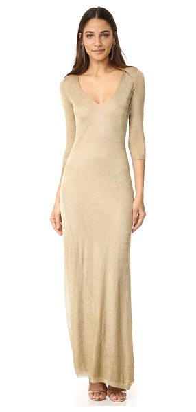 Dsquared2 long sleeve maxi dress in gold - A glamorous DSQUARED2 gown with a metallic sheen. A deep...