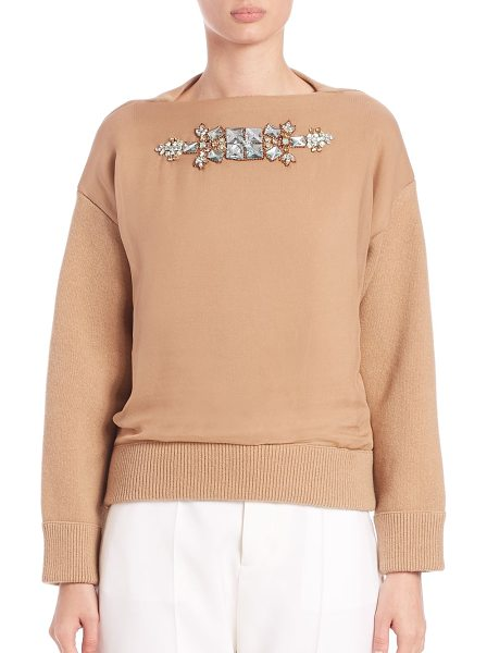 Dsquared2 Embellished contrast sweater in camel - A front silk panel with ornate jeweled embellishment...