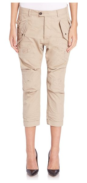 DSQUARED2 hiapa distressed cropped military pants - Cropped military pant of distressed cotton. Belt loops....
