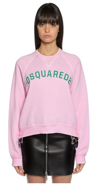 Dsquared2 Logo print cotton sweatshirt in pink,green