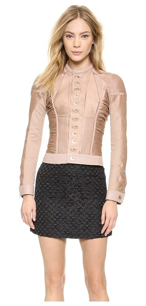 Dsquared2 Ruched jacket with hardware in nude - A striking, military inspired DSQUARED2 jacket in fine,...