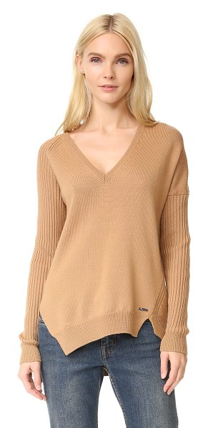 DSQUARED2 v neck ribbed sweater - Mixed stitch patterns bring cozy texture to this V-neck...