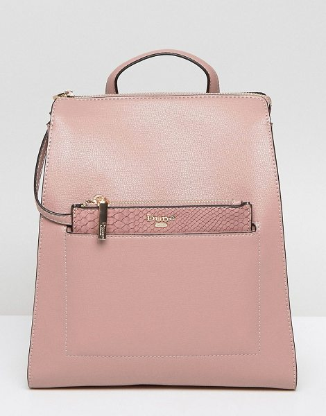 DUNE Backpack With Removeable Zip Top Pouch in pink - Backpack by Dune, Faux leather outer, Contrast lining,...