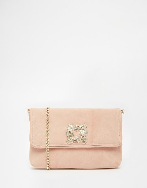 Dune Bree jewelled brooch suede clutch bag in pink suede - Clutch bag by Dune Suede-style outer Flap top with press...