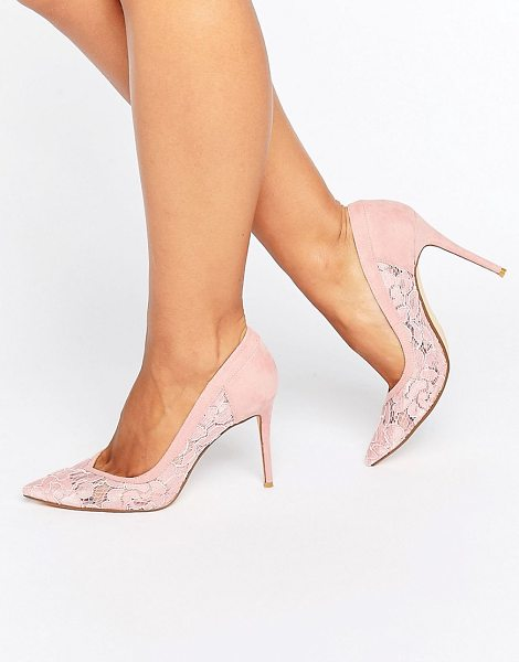 "Dune Bridal Dune London Bridal Buffie Lace Pointed Pumps in pink - """"Heels by Dune, Faux-suede upper, Sheer lace panels,..."