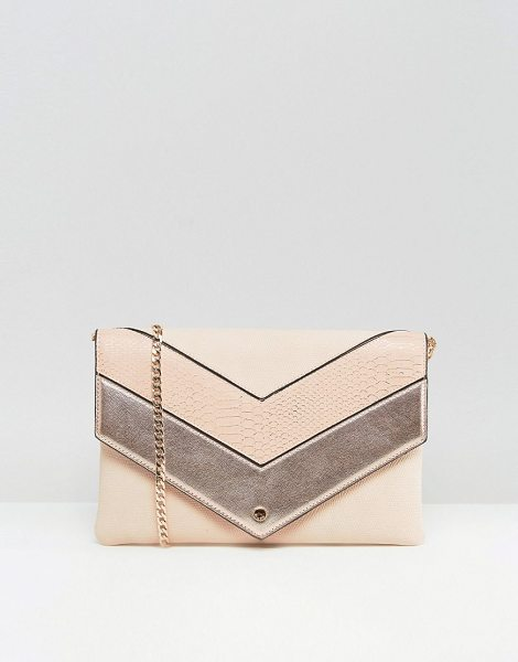 DUNE Chevron Style Nude & Metallic Contrast Envelope Clutch - Clutch bag by Dune, Faux-leather outer, Fully lined,...