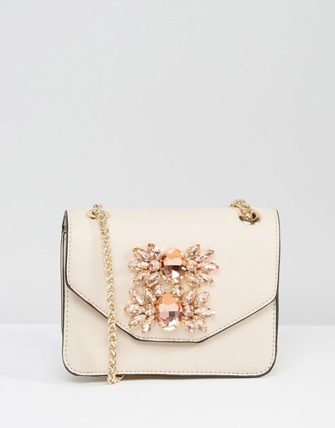 DUNE Envelope Micro Bag With Embellishment in pink - Cart by Dune, Faux-leather outer, Chain body strap,...