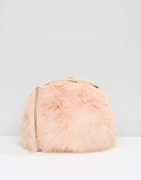 Dune Faux Fur Cross Body Bag in pink - Cart by Dune, Faux-fur outer, Fully lined, Gold-tone...
