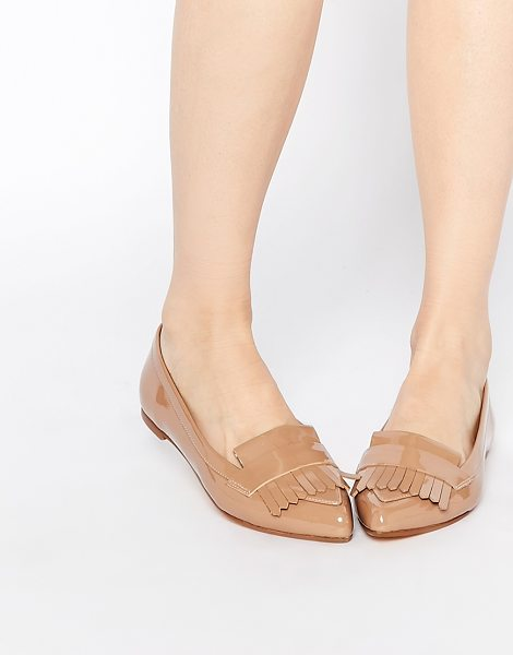 Dune Gersey patent fringed flat shoes in tan