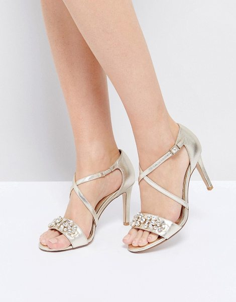 "Dune London Gold Embellished Heeled Sandals in champagne - """"Heels by Dune, Leather upper, Metallic finish,..."