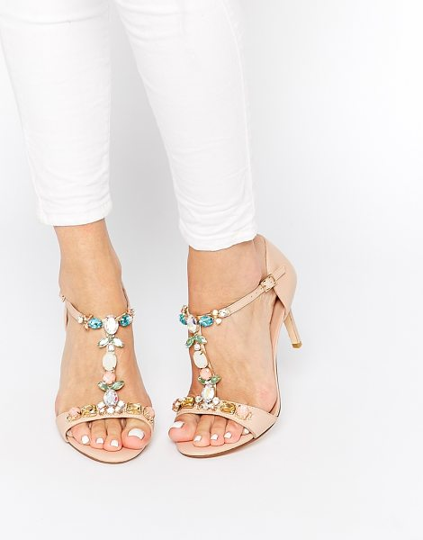 Dune Hummingbird embellished t-bar heeled sandals in nude - Sandals by Dune Smooth, leather upper Pin buckle...
