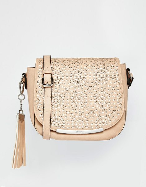 Dune Laser cut saddle bag in nudesilver - Cart by Dune Faux leather outer Single strap Flap top...