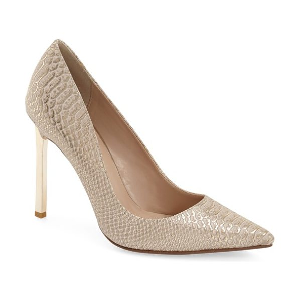 Dune London 'barcardie' pointy toe pump in gold reptile print leather - A goldtone stiletto heel provides a flashy finish for a...