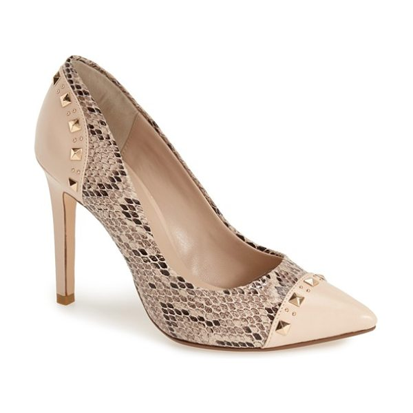 Dune London brontie genuine snakeskin pump in natural reptile - Polished pyramid studs accent the smooth leather trim of...