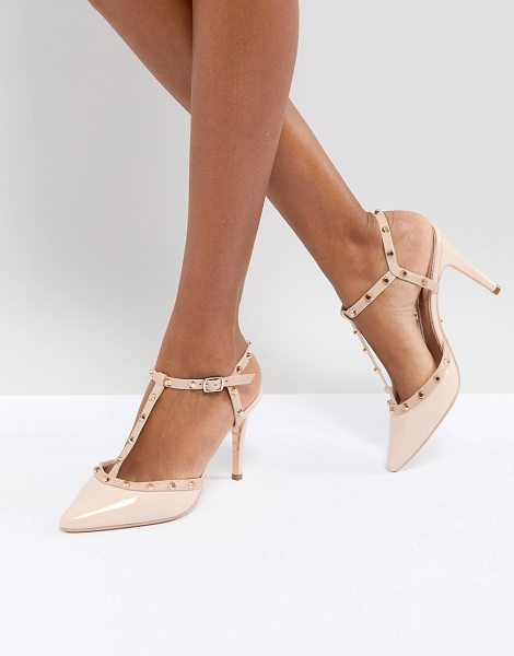 Dune london catelyn leather studded heeled shoes in nude - Heels by Dune, Ankle-strap fastening, Studded...