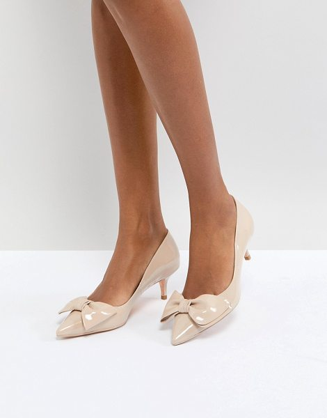 Dune london kitten heel shoe with bow in nude - Heels by Dune, High-shine patent finish, We re all about...