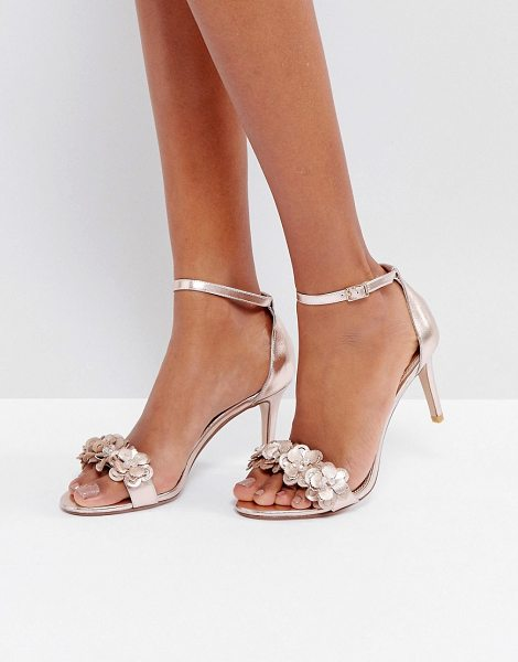 Dune Magnolea Rose Gold Flower Trim Heel Sandal in copper - Shoes by Dune, Faux-leather upper, Metallic finish,...