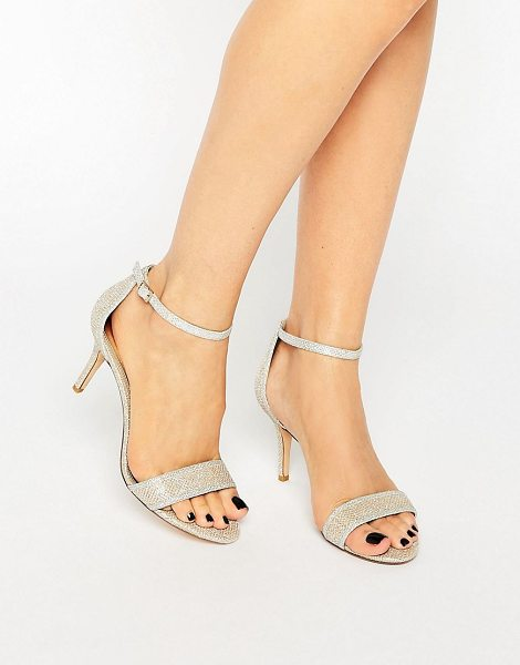 Dune Maria Gold Lurex Ankle Strap Mid Heeled Sandals in gold - Heels by Dune, Textured upper, Ankle-strap fastening,...