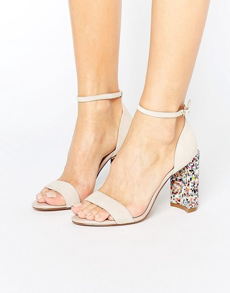 Dune london millions multicolor block heeled sandals in blush