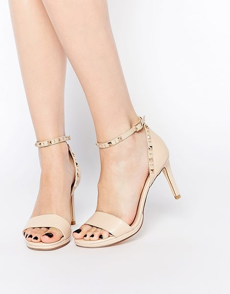 Dune Missie nude leather two part studded heeled sandals in nude