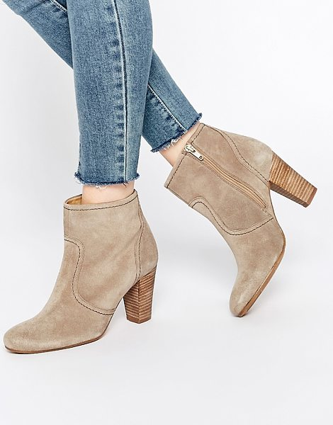 DUNE Portia Heeled Suede Ankle Boots - Boots by Dune, Suede upper, Panelled design, Zip...
