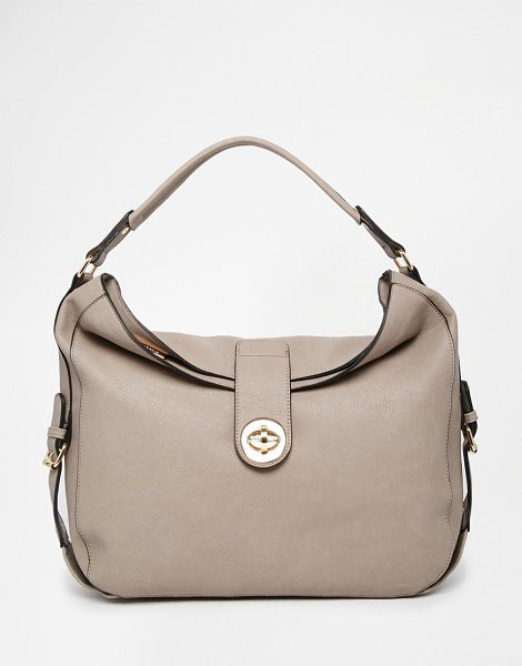Dune Slouchy shoulder bag in taupe - Cart by Dune Leather-look Twist clasp lock Shoulder...