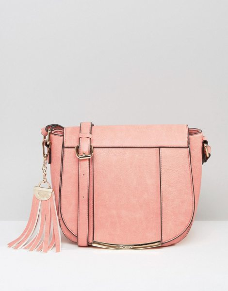 Dune Smart Saddle Bag With Tassel Keychain in pink - Cart by Dune, Faux-leather outer, Fully lined,...