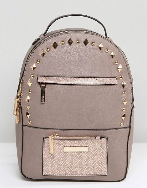 Dune Studded Backpack in beige - Cart by Dune, Faux-leather, Lined design, Twin straps,...