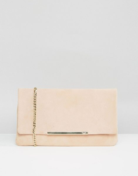 DUNE Suedette foldover clutch bag in blush in pink - Clutch bag by Dune, Suede outer, Branded lining,...