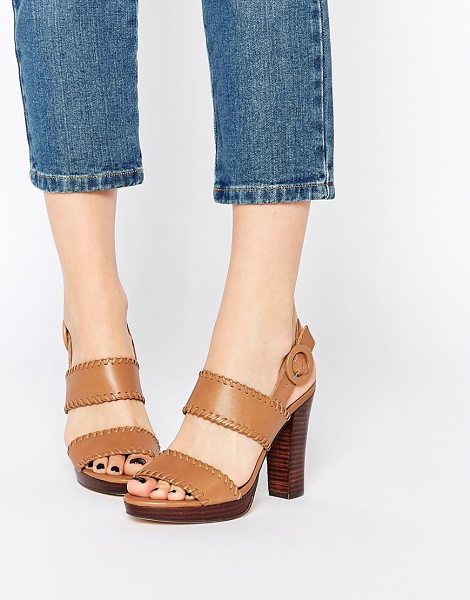 Dune Tan Leather Double Strap Sandals in tan