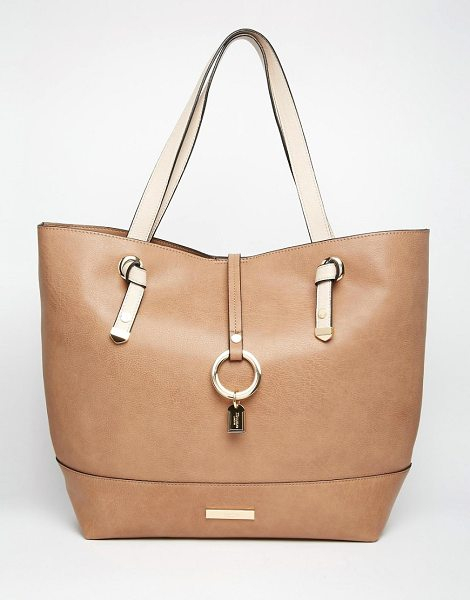 DUNE Tote Bag in Taupe - Cart by Dune, Textured faux leather outer, Twin contrast...
