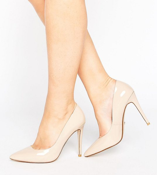 "DUNE WIDE FIT Dune London Wide Fit Nude Patent Pumps - """"Shoes by Dune, Patent leather upper, Slip-on style,..."