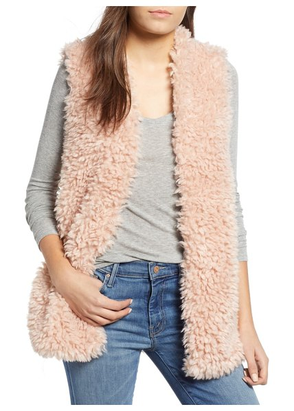 Dylan fuzzy chic faux shearling vest in pink - Rock the '60s rebel-girl look in this faux-shearling...