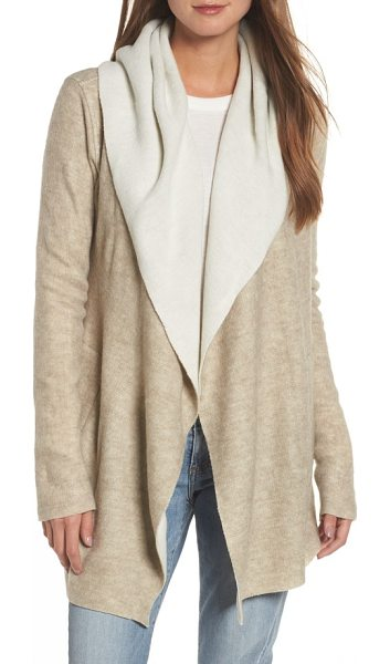 Dylan hooded sweater cardigan in oat/ natural - Soft, drapey fleece adds cozy warmth to a comfy hooded...