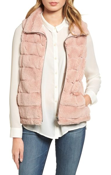 Dylan love faux fur vest in pale pink - A snuggly stand collar frames your face and adds to the...