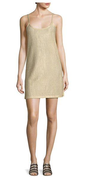 Each X Other metallic rib-knit slip dress in gold - Rib-knit mini slip dress in glimmering finish....