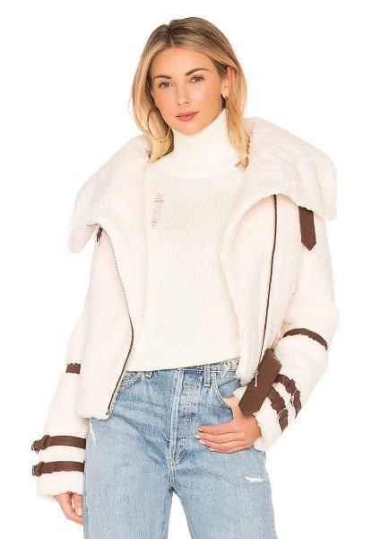 EAVES Bailey Moto Jacket in vanilla bean - Faux Fur, Back & Lining: 100% poly. Dry clean only. Faux...